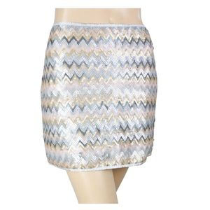 YA Los Angeles Gold Silver Sequin Mini Skirt NWT